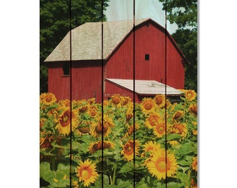 Sunflower Barn on Cedar,  Wooden Wall Hanging Art, Home Decor, Indoor Outdoor Safe. (SFB1624/2836)