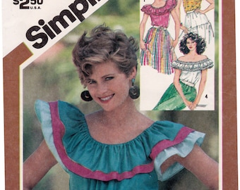 FF Simplicity 5940 Peasant Blouse, Pullover Ruffled Tops, Off the Shoulder Top Vintage Sewing Pattern, Size 10-12, Bust 32 1/2-34, UNCUT