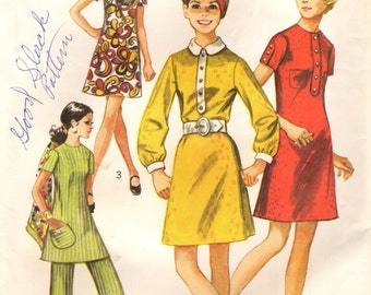Simplicity 8585 Dress, Tunic, Bell Bottom Pants 1970s Bust 34 Size 12 ©1969