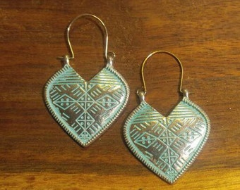 Silver and Teal Shield Pierced Earrings