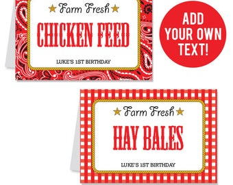 EDITABLE INSTANT DOWNLOAD Country Western Party Buffet Cards - Editable, printable table tent cards