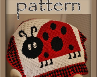 PATTERN Ladybug Afghan Blanket - Crochet - Instant Download