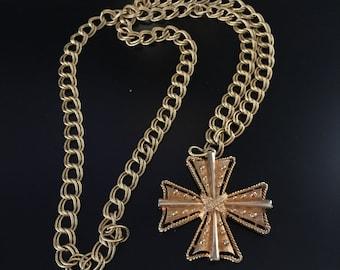 Collier croix Vintage déclaration signée Alan Goldton Croix pendentif chaîne collier