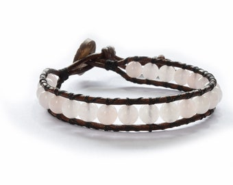 Rose Quartz Leather Wrap Bracelet