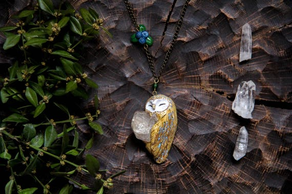 Barn Owl with Rhinestone Crystal Necklace, Bird Jewelry, Fantasy Necklace, Mystic Pagan Barn Owl Necklace with Rhinestone, Owl Pendant