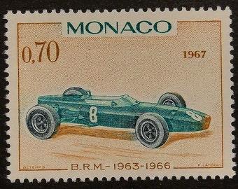 B.R.M. 1963-1966 Vintage Racing Car, Monaco -Handmade Framed Postage Stamp Art 14406AM