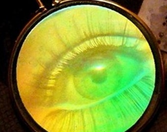 Unisex Vintage One-Way 3-D Hologram Eye Pendant with Added Link onto Bail - 70s, 80's