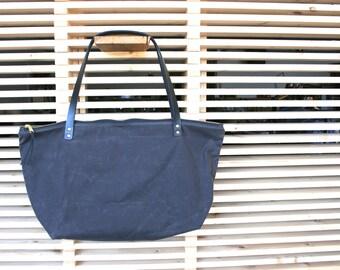 Waxed Canvas Market Bag with Zipper, Travel Bag