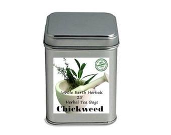 Chickweed Tea Bags 25 Organic Herbal Tea Bags in Decorative Tea Tin