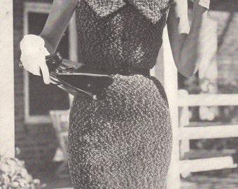 Mid 50s Knitting Pattern Curve Hugging Collared Sheath Dress Tweed Yarn PDF File Vintage Sizes 12 - 16
