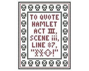 NO! - Original Cross Stitch Chart | Inspired by William Shakespeare / Hamlet