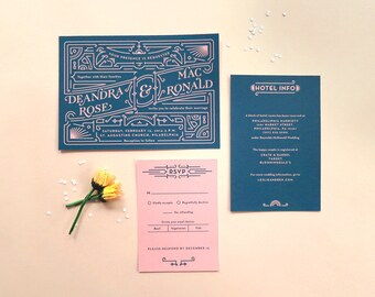 Digital Wedding Invitation Set with RSVP – Art Deco, Vintage Inspired, DIY Wedding, Printable Files – Dee & Mac