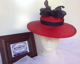 Cherry Red hat with navy bow