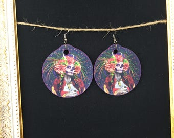 Dia De Los muertos Woman/Flowers earrings