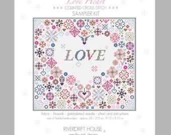 LOVE HEART Counted Cross Stitch Sampler Kit by Riverdrift House