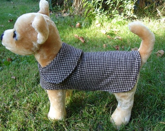 Dog Jacket -  Brown and Tan Houndstooth Wool Coat- Size XX Small- 8 to 10 Inch Back Length