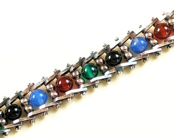 Milor Italy sterling & colored glass bead link bracelet, 7 inches long