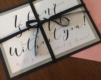 Custom Made Bridesmaids asking cards