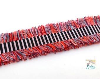 20cm Ribbon black orange 26mm (fil150) Cuff Bracelet