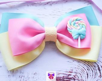 Pink, Yellow and Aqua Candy Grosgrain Ribbon Bow  - Baby / Toddler / Girls / Kids Headband / Hairband / Hair bow / Barette / Hairclip