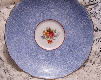 Grosvenor Bone China Saucer - Roses and Blue Floral
