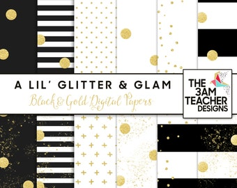 Glitter & Glam: Black and Gold Digital Papers Set