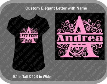 Custom Elegant Letter with Name T-Shirt, Tank or Hoodie