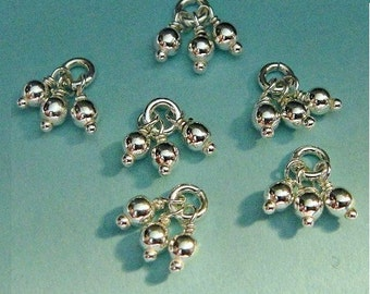 Sterling Silver Bead Tassel Charm Dangles,  2.5mm Beads, Select Your Quantity