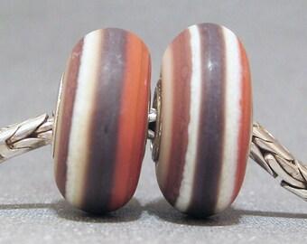 Brown, Ivory & Tan Organic Handmade Stripe Lampwork Glass Beads Euro Bracelet Charm Wild West Pair
