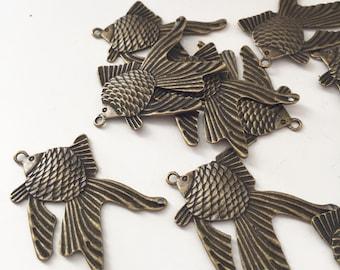 5 Messing Goldfish Charms Fisch Anhänger
