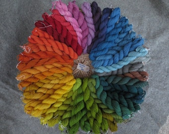 Naturally dyed 4ply sock / tapestry  pure wool yarn in 68 metre skeins (25 - 28g)