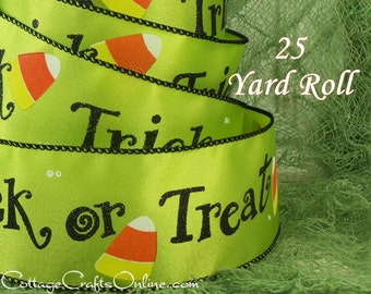 "Halloween Wired Ribbon, 2 1/2"", Trick or Treat Script, Lime Green Satin - TWENTY FIVE YARD Roll -  Candy Corn Craft Wire Edged Ribbon"