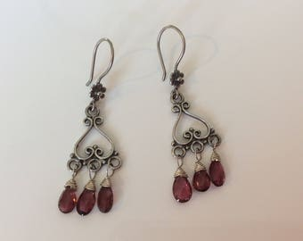 Antique sterling silver small filigree chandelier earrings with pink tourmalines