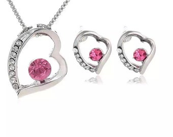 Heart Pendant Necklaces and Stud Earring  Crystal Jewellery Set Silver Plated For Women