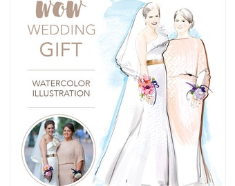 Watercolor wedding portrait. Original fashion style portrait drawing from photo, custom couple gift, wedding gift. Full body. DIGITAL ONLY