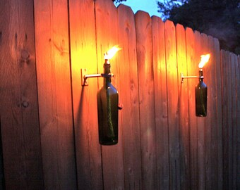 4 Green Wine Bottle Tiki Torches - Outdoor Lighting - Hanging Lantern - christmas gift - Gift for Dad