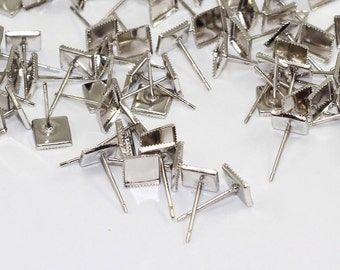 50 Pcs Silver Brass 13x7mm, Square-Headed Needle, Needle Findings, Earrings, SGN12