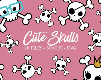 Cute Skulls Digital Clipart