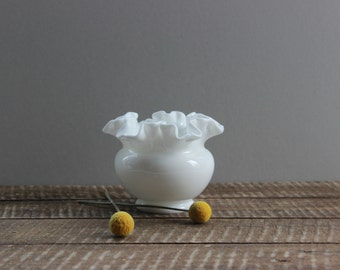 Fenton Milk Glass Ruffled Edge Vase