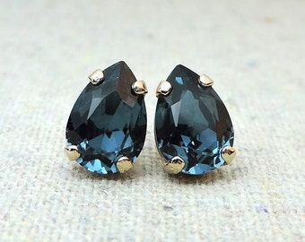 Swarovski Crystal Navy Blue Tiny Teardrop Rhinestone Pear Rose Gold Post Earrings Bridal Jewelry Bridesmaids Presents Gifts Flowergirl