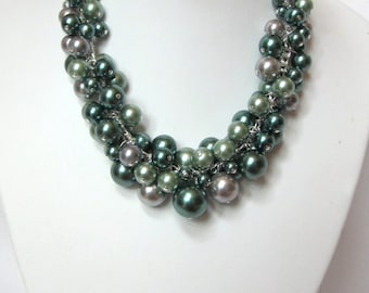 "Pearl Cluster Necklace in ""Shades of Green and Silver"" - Chunky, Choker, Bib, Necklace, Wedding, Bridal, Bridesmaid, Prom, Fun"