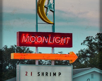 Vintage Grunge Style Moonlight Burger Drive In Retro Neon Sign Street Art - Fine Art Photograph Print Picture