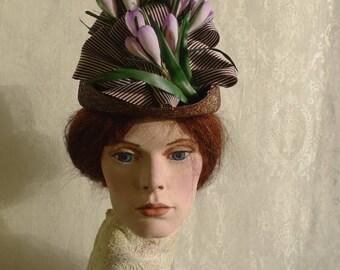 Straw hat for bustle fashion 1885