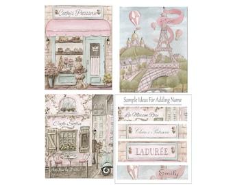 Paris Bedroom Decor, Shabby Chic Girl Nursery Personalized Set Of 3 Prints, Eiffel Tower, Paris Cafe, Patisserie, Vintage Blush Pink Nursery