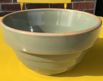 """Vintage Over and Back Yellowware Bowl, Sage Green, 6"""" in diameter"""