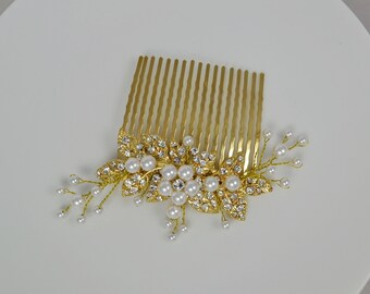 Gold Tone Bridal Hair Comb Swarovski Pearls Crystal Leaves Vine Flower Wedding Jewelry - Ships in 3-5 business Day