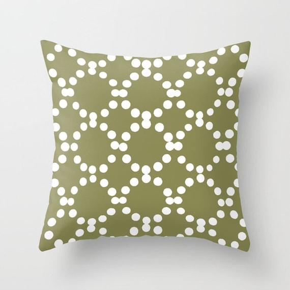 OUTDOOR Throw Pillow . Olive Outdoor Pillow . Olive green patio cushion . Modern Geometric Pillow Ring Dot . 16 18 20 inch . Lumbar Pillow