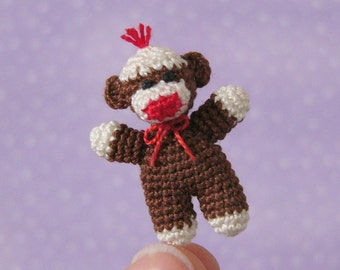 PDF PATTERN - Crochet Miniature Baby SockMonkey - Amigurumi Tutorial