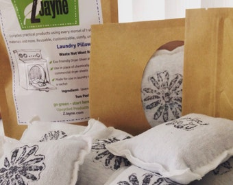 Living Lovely Simply Dryer Pillow Sheets Bare Bones 2 pack 100% upcycled from tShirt materials Organic Lavender