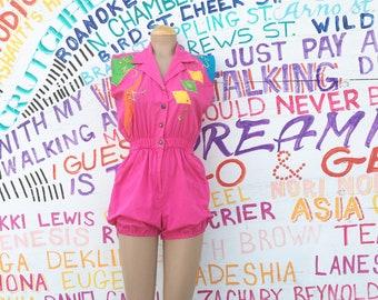 Vintage 1990s Hot Pink Romper (Size Medium/Size 8 Women)